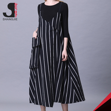 Korean Style Sex Elegant V-Neck Spaghetti Strap Stripe Women Loose Maxi Long Slip Dress