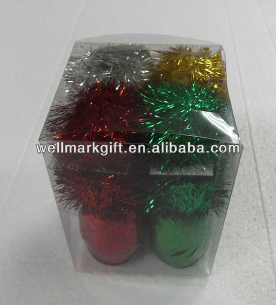 Glitter Tinsel Pom Pom Ball Gift Ribbon Bow Pack
