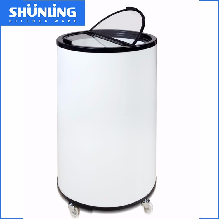 Shunling New Arrival 65L energy drink round beverage electri barrel cooler with wheels