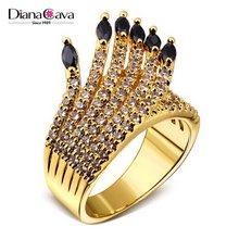 Cute Candle Design Black CZ Stones White Gold Plated Fashion Costume Jewelry Ring