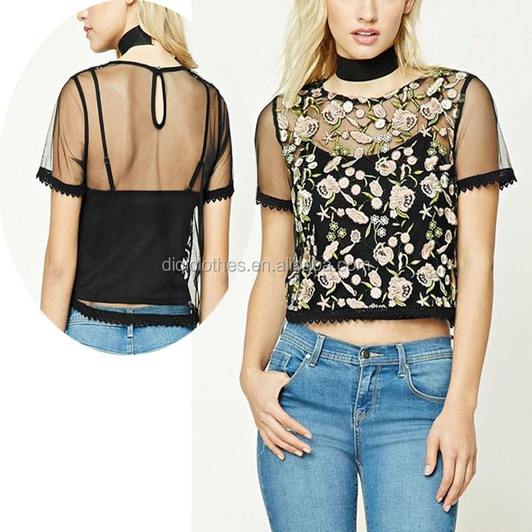 Factory Wholesale Women's Pretty Tops Round Neck Contemporary Floral Mesh Top With Cami
