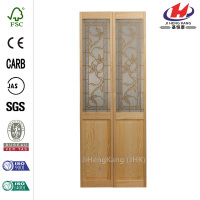 36 in. x 80 in. Glass Over Panel Universal/Reversible Tuscany Wood Interior Bi-Fold Door