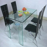 China manufacturer hot bent glass dining table