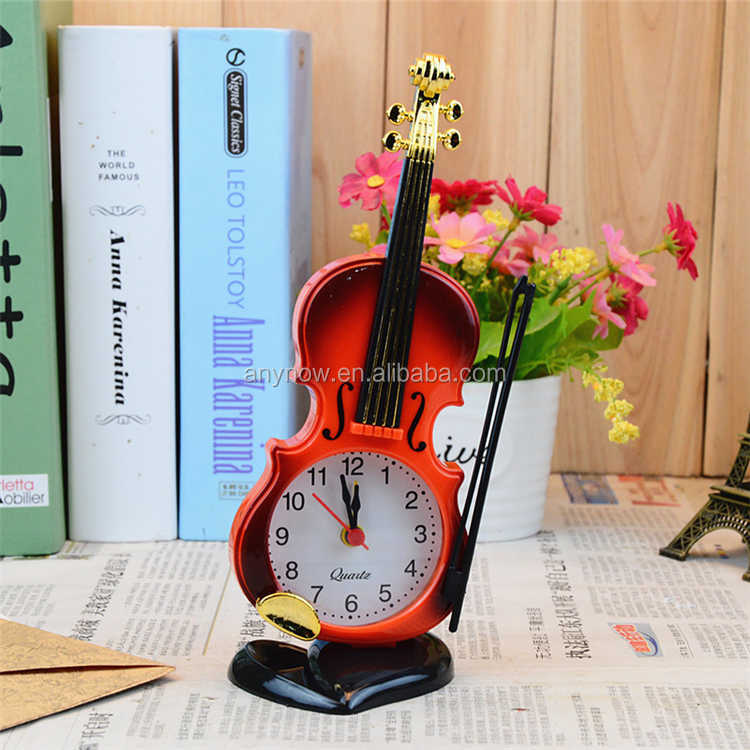 Plastic Violin Quartz Table Desk Alarm Clock