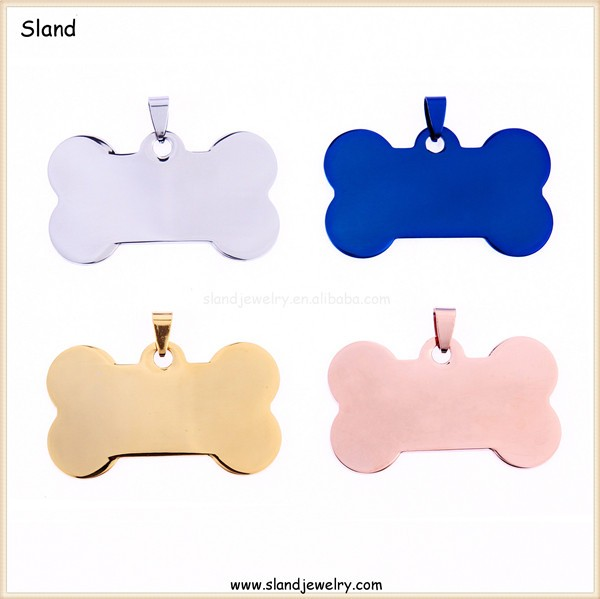 SLand Jewelry wholesale high quality cute bone shaped plain stainless steel pet dog tag necklace pendant - ID Tag for Pets