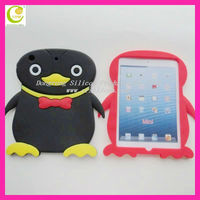 Cute penguin shape silicone waterproof case for ipad mini ,For Mini Ipad Christmas gift for Child