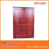3 doors 2 drawers pine solid wood wardrobe
