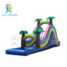 Giant commercial jungle palm tree inflatable water slide with pool