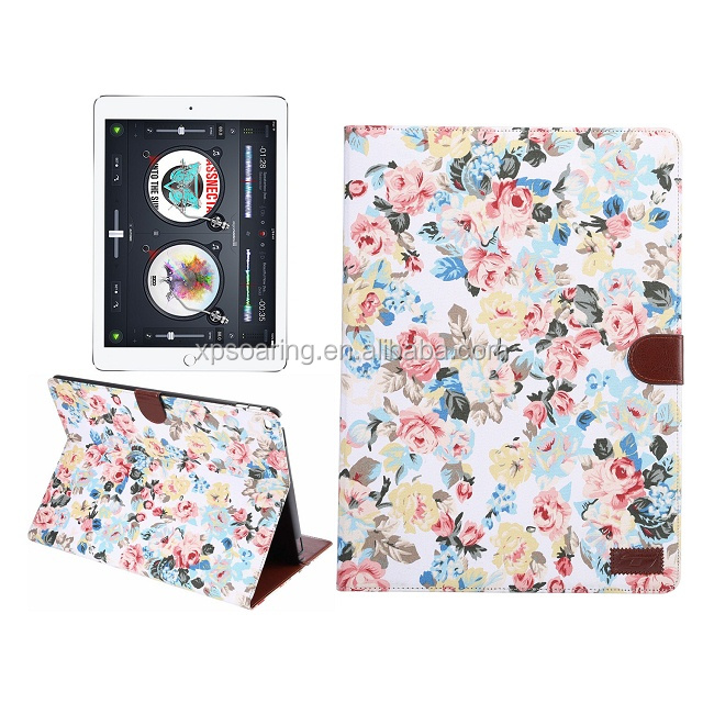 Fancy flower wallet case for iPad Pro, PU stand leather case for iPad Pro