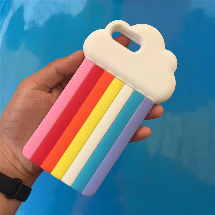 Rainbow Clouds Silicone Cover Case For iPhone 7 7 Plus 6 Plus