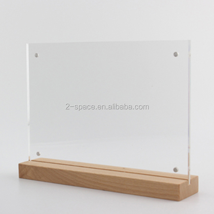 Acrylic Advertising Poster Stand A5 Wood Base Acrylic Tabel Sign Menu Sign Holder