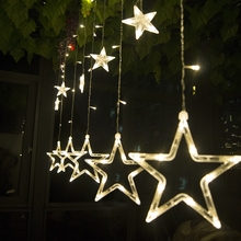 Wholesale Price Christmas Party Decoration IP44 12 LEDs Twinkling Stars Shape Window Curtain String Light