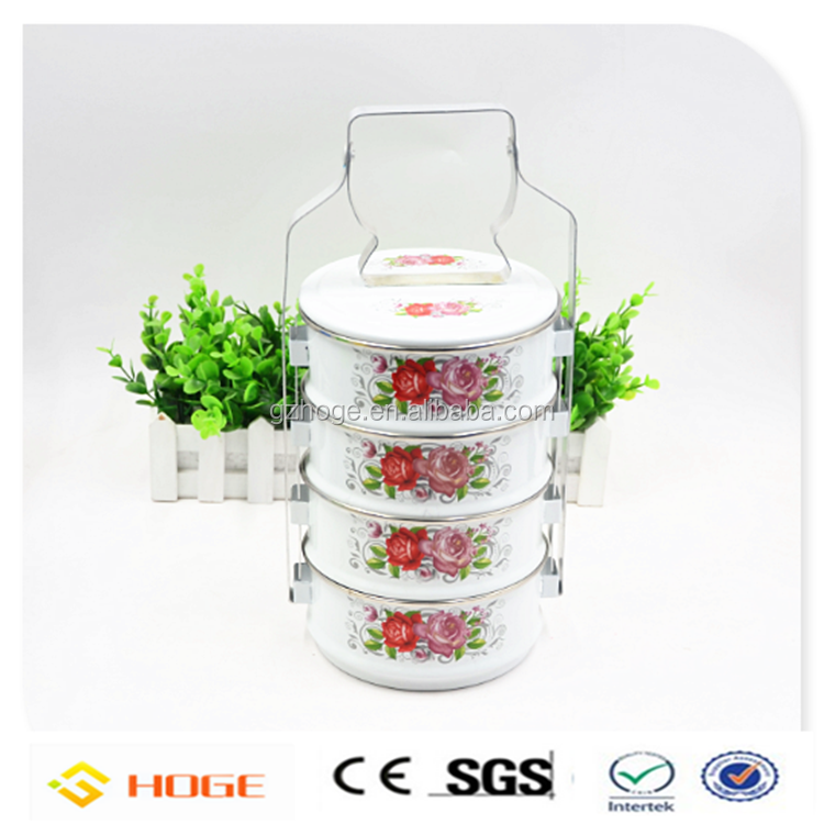 Hot Sale Multicolor Enalmelware Set Enamel Tier Tiffin Carrier Wholesale
