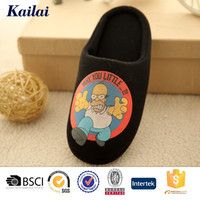 new arrival popular cartoon character printed black jersey man slipper shoe