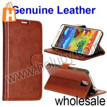 Lichee Pattern Wallet Magnetic Flip Stand Ultraslim PC+Genuine Leather Case For Samsung Galaxy Note 3 N9000 N9002 N9005 (Brown)