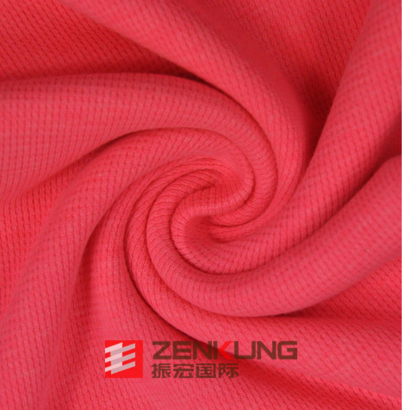 Polyester Cotton Fluorescent orange Waffle knit fabric100% export