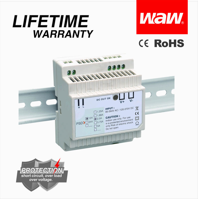 30W 12V 2.5A Din Rail Power supply DR-30 with CE ROHS certificates