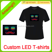 Be Special!!!Custom cheap neon el panel t shirt with sound activated driver for party