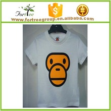 100% cotton cartoon white t-shirts for boys and girls