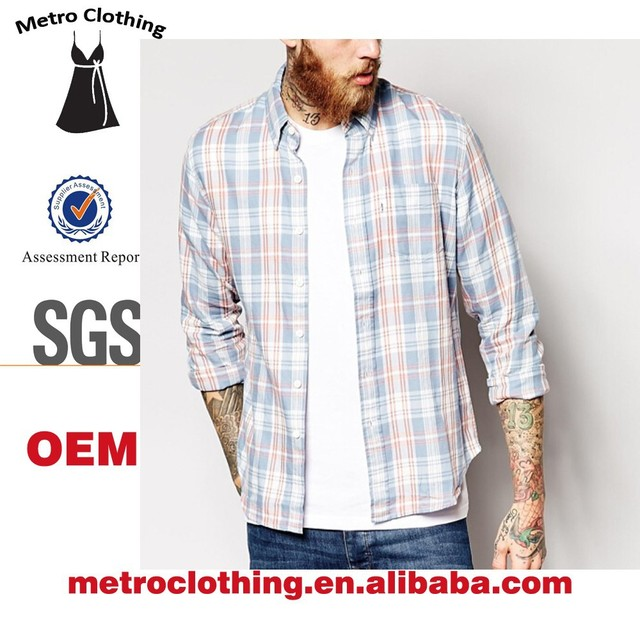 2015 OEM manufacturer high quality long sleeve Button Down Allover print Check Shirt