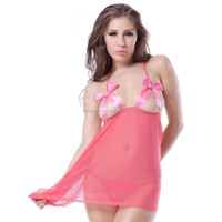 Fantastic style sexy ladies pink transparent babydoll open cup satin cheap romantic night dress