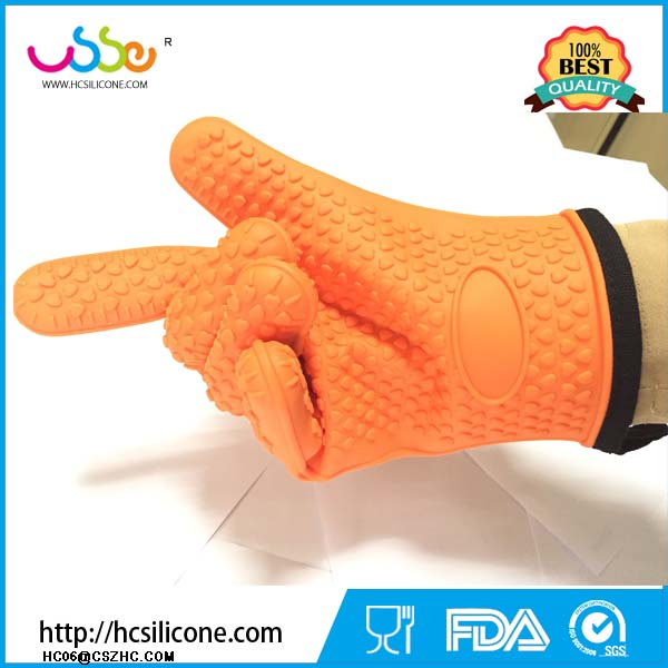 Heat Resistant BBQ Gloves Pair of Best Silicone Pot Holders five fingers and Oven Mitts for Kitchen Cooking Baking Barbecue
