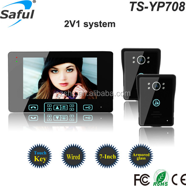 "Wholesales handsfree 7"" touch button wired colour tft lcd video door phone"