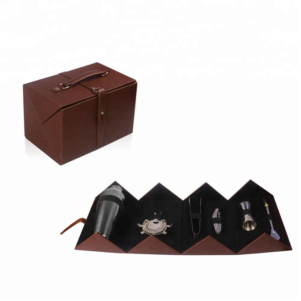 Factory handmade black faux leather functional wine set