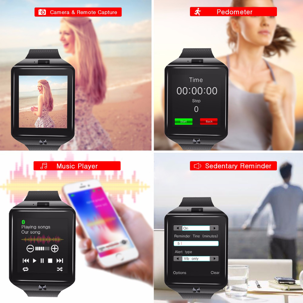2019 Wholesale PriceAndroid Camera Bluetooth Smartwatch Wrist Mobile Smart Watch Sport Smart Watch With Sim Card Slot