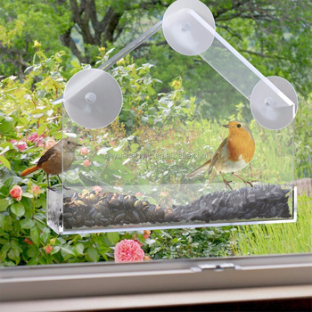 Plastic Window Bird Feeder with Mount Suction Cups