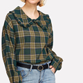 Ladies Tartan Plaid Blouse for School