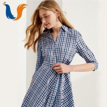 2018 Latest fashion elegant custom irregular hem blue plaid shirt dress for lady