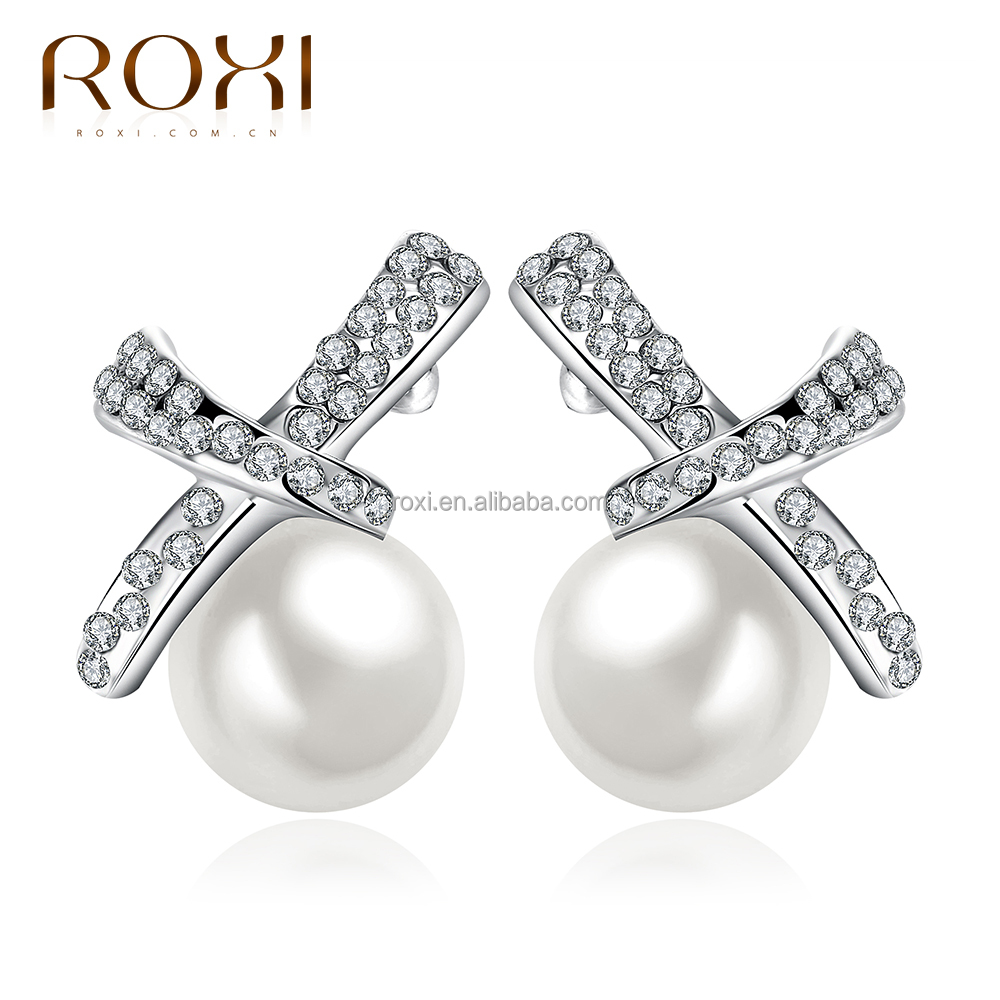 Women cross Pearl earrings round shape beads ladies stud earrings crystal diamond wedding white gold female earrings