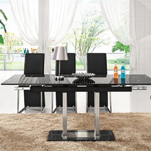 L808E Extendable Tempered Glass Table, Modern Dining Room Table