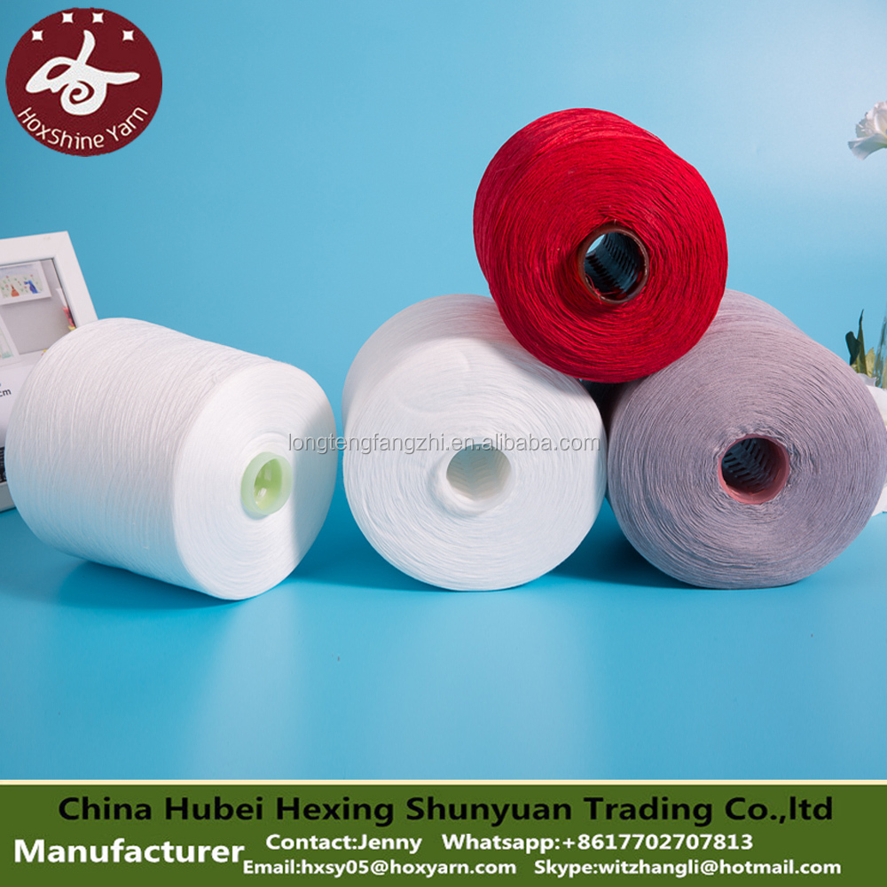 hanchuan makou china factory raw white 100 spun polyester yarn for sewing thread