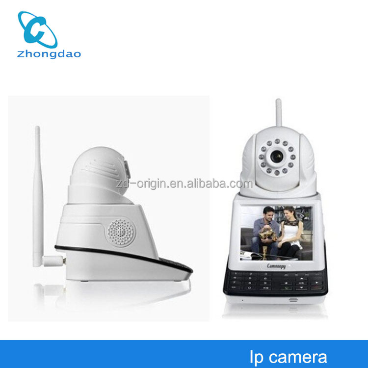 2014 newest Pan/Tilt Free video calls p2p network ip camera with 3.5inch lcd display &Linkage Alarm