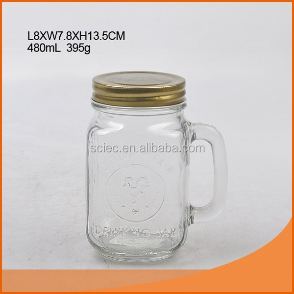 glass mason jar with handle and metal lid,glass jar with lid