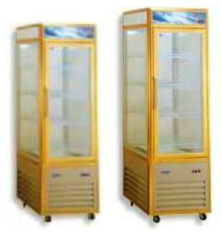 slim upright single door Display Cabinet, Triple Glazed Doors, Casters Fitted
