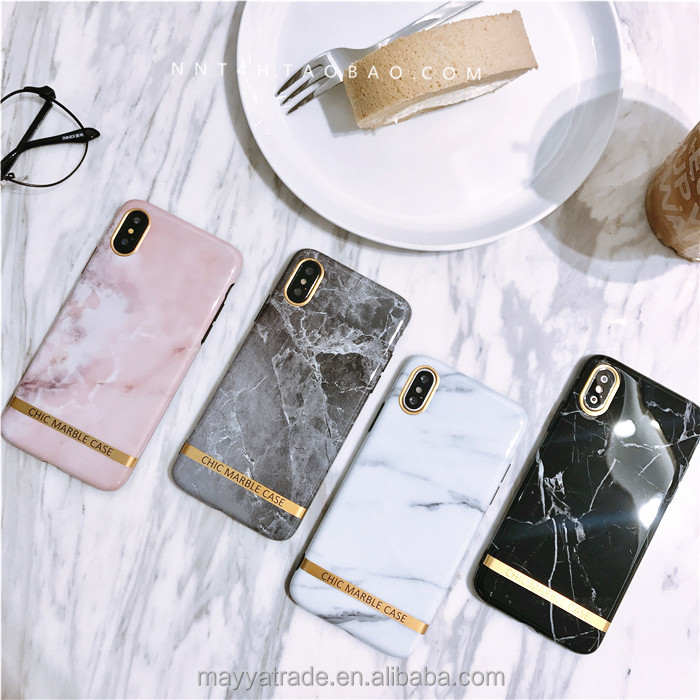 INS Hot Selling Glossy Pink White Black Marble TPU Case for iPhone X 8 8Plus 10