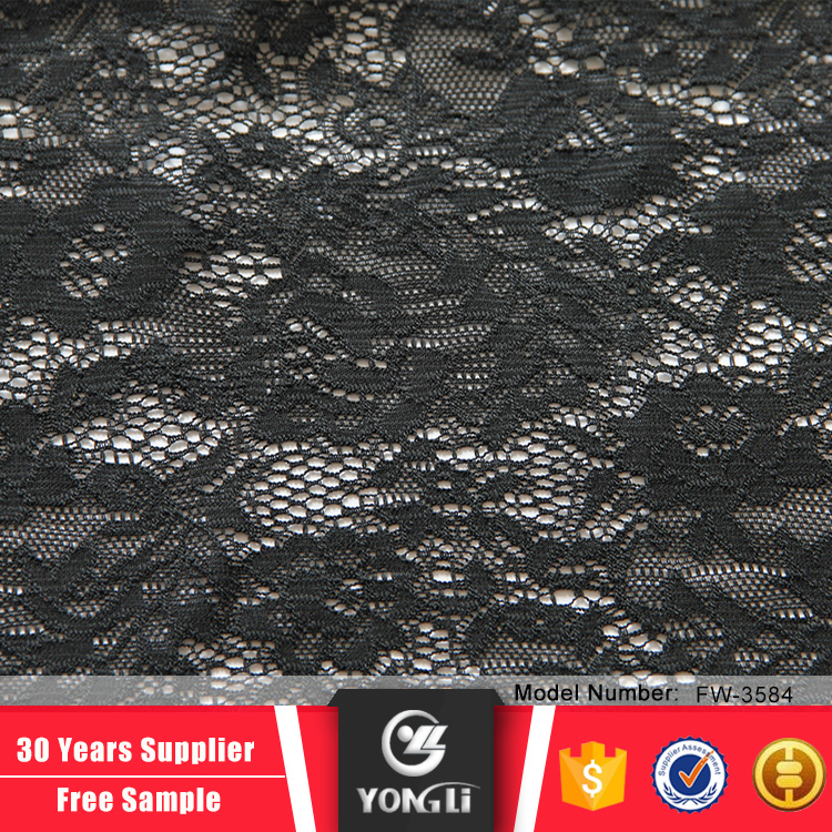 Wholesale african black stretch lace fabric for women garment