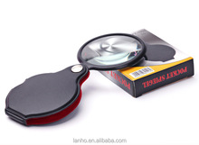 Outdoor Hiking PU Leather Case Portable 5X Times Magnifying Glass Magnifier