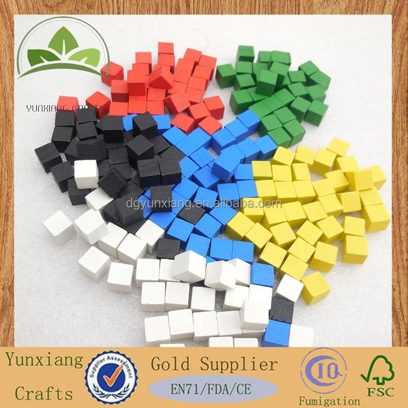 red blue yellow beautiful 8mm mini wooden block small wooden colored cube