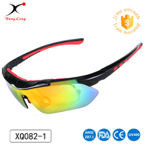 Unisex custom mirror color lens <strong>bamboo</strong> design five interchange lens function sport glasses
