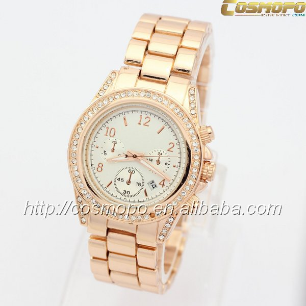2016 New Gold alloy steel hand watch for girl japan movt diamond quartz watch