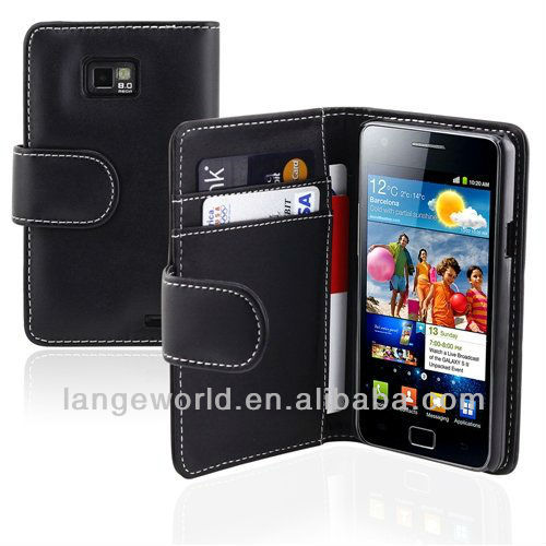 C&T leather wallet cover for samsung galaxy note 2 housing