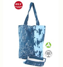 Full Color Print Promotional Shopping Eco Cotton Folding Bag With Pouch