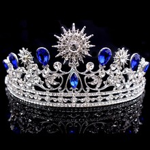 Silver Plated Blue Full Crystal Rhinestone Quinceanera Prom Pageant Tiaras And Crowns Bridal Wedding Bride Baroque Hair Jewelry