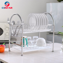 Dish Rack Stainless Steel Two Tier Draining Rack Rustless Storage Rack with Chopstick Holder