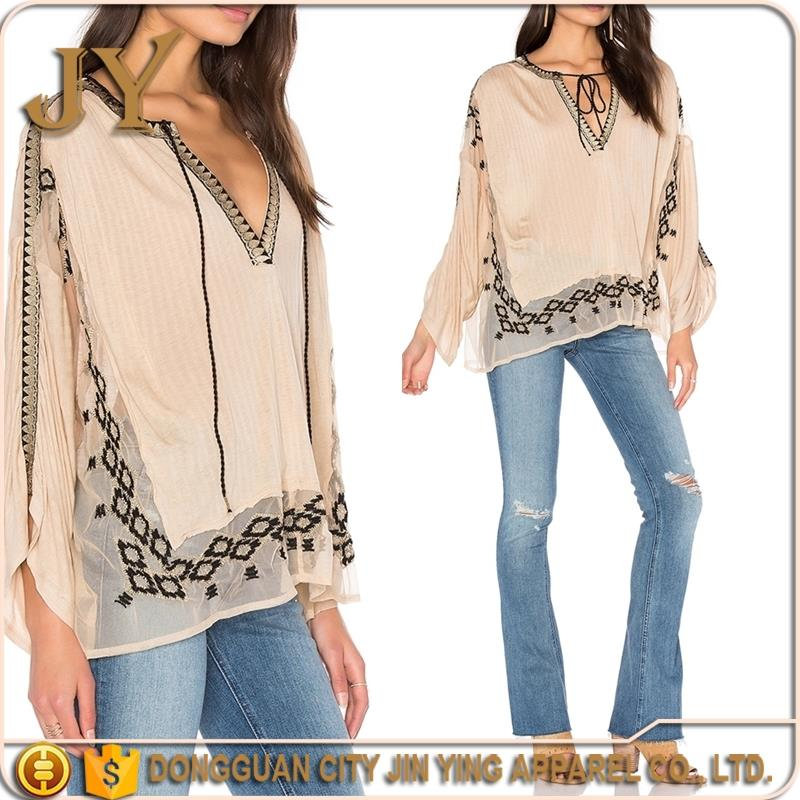 The fashion BOHO custom embroidered design for women blouses and tops with long sleeve