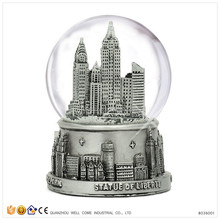 2016 New York City Silver Lined Custom Snow Globe With Blowing Snow